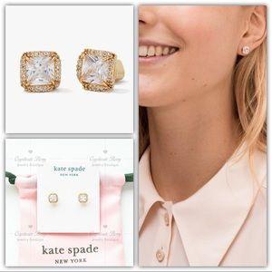 Kate Spade That Sparkle Princess Cut Gold Studs